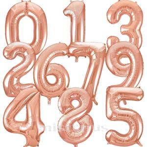 Balão Forma de Número Rose Foil