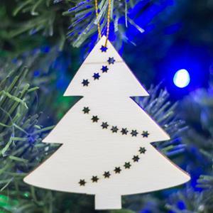Árvore de Natal com Estrelas em Madeira, 8 cm