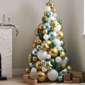 Árvore Natal de Balões Verde, Dourado e Branco