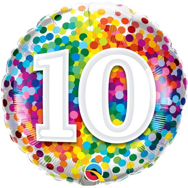 Balão 10 Anos com Bolinhas Coloridas Foil, 46 cm
