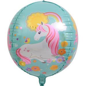 Balão 4D Redondo Unicórnio, 60 cm