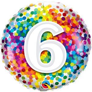 Balão 6 Anos com Bolinhas Coloridas Foil, 46 cm