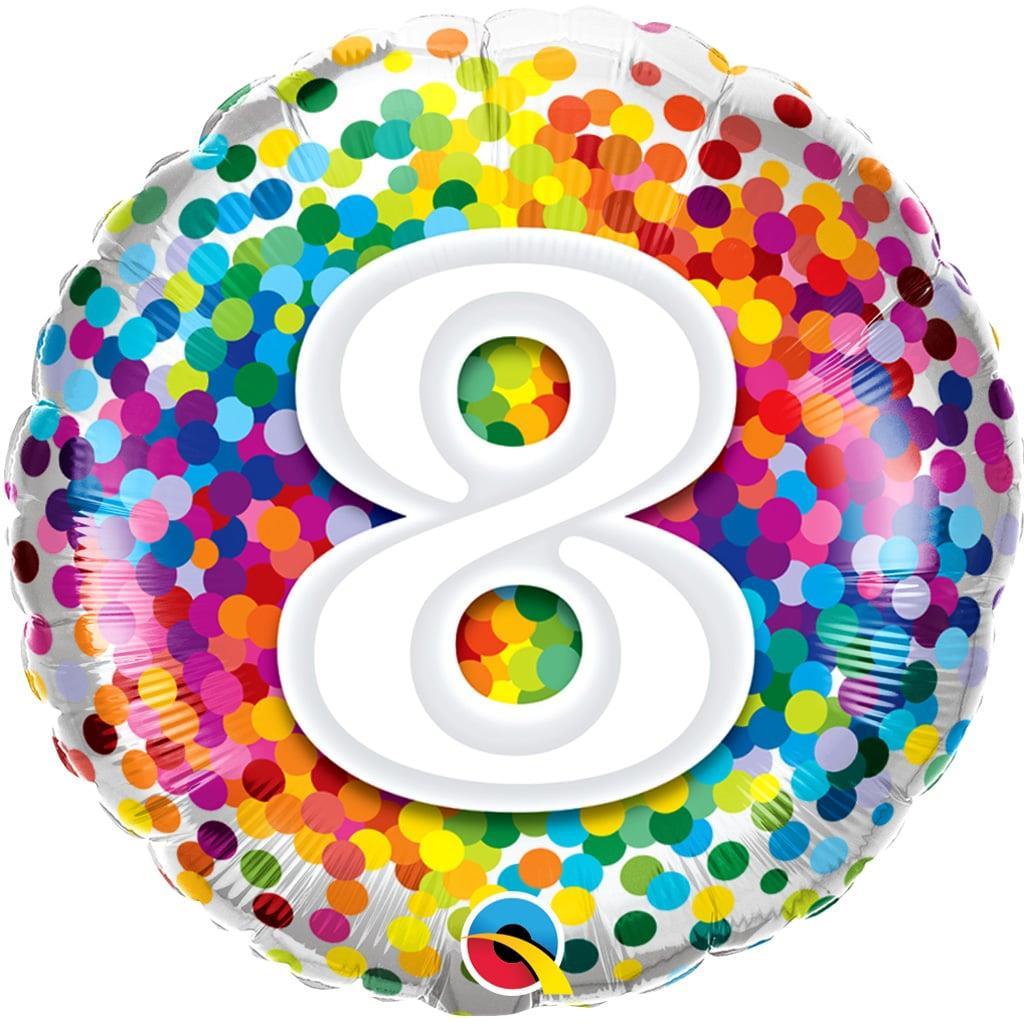 Balão 8 Anos com Bolinhas Coloridas Foil, 46 cm
