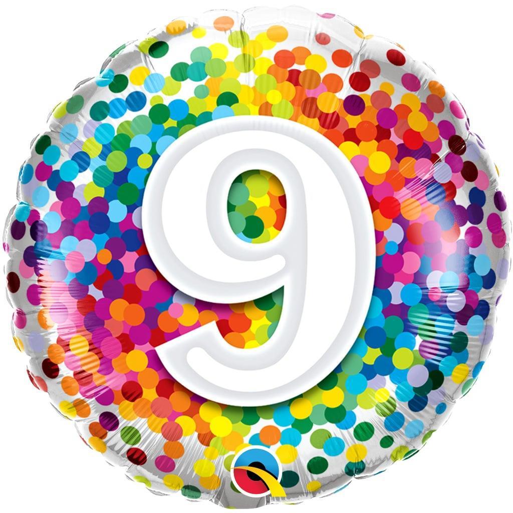 Balão 9 Anos com Bolinhas Coloridas Foil, 46 cm