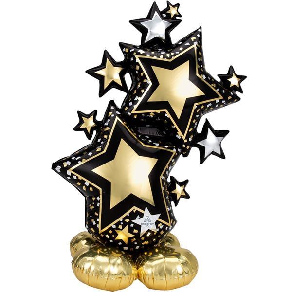 Balão AirLoonz Estrelas Douradas e Prateadas, 149 cm
