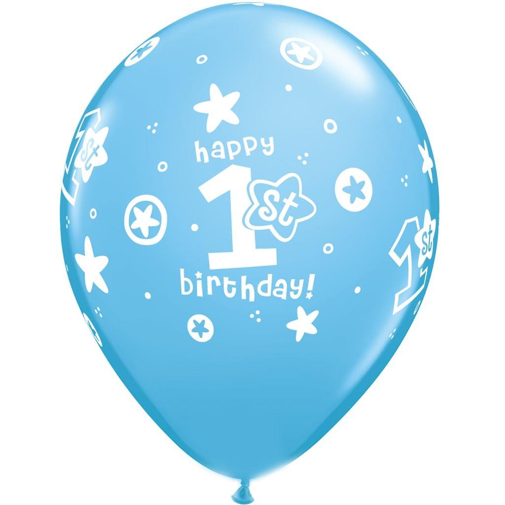 Balão Azul 1º Aniversário Látex, 30 cm