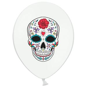Balão Branco Caveira Mexicana em Latéx, 6un