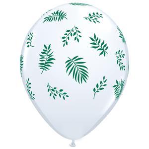 Balão Branco com Folhas Tropicais