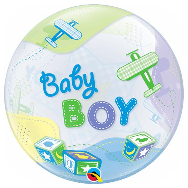 Balão Bubble Baby Boy Aviões, 56 cm