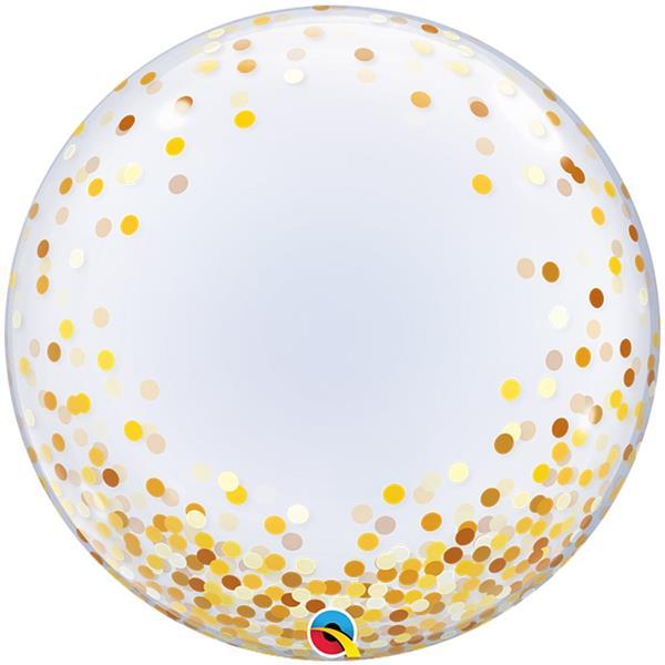 Balão Bubble Confetis Dourado, 61 cm