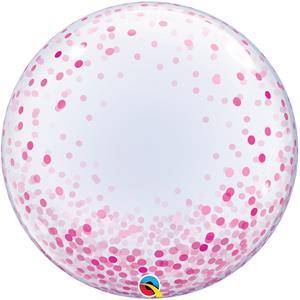 Balão Bubble Confetis Rosa, 61 cm