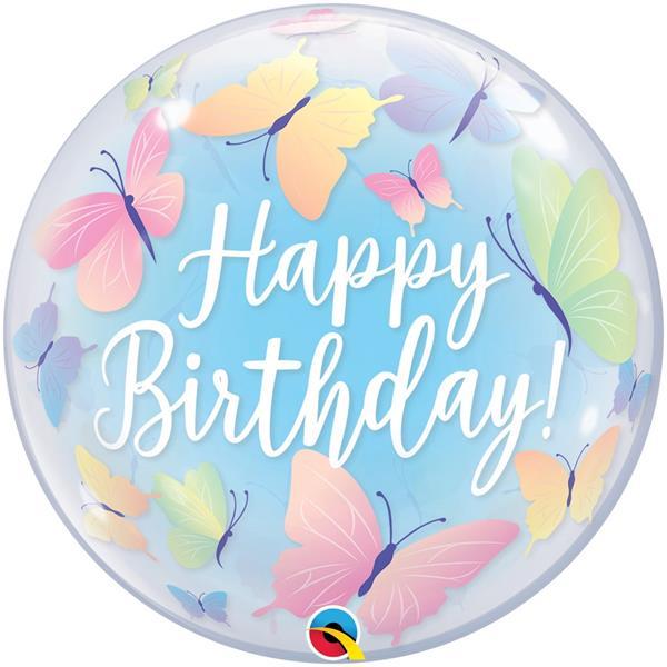 Balão Bubble Happy Birthday Borboletas, 56 cm