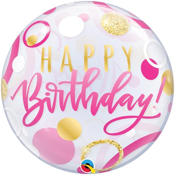 Balão Bubble Happy Birthday Rosa, 56 cm