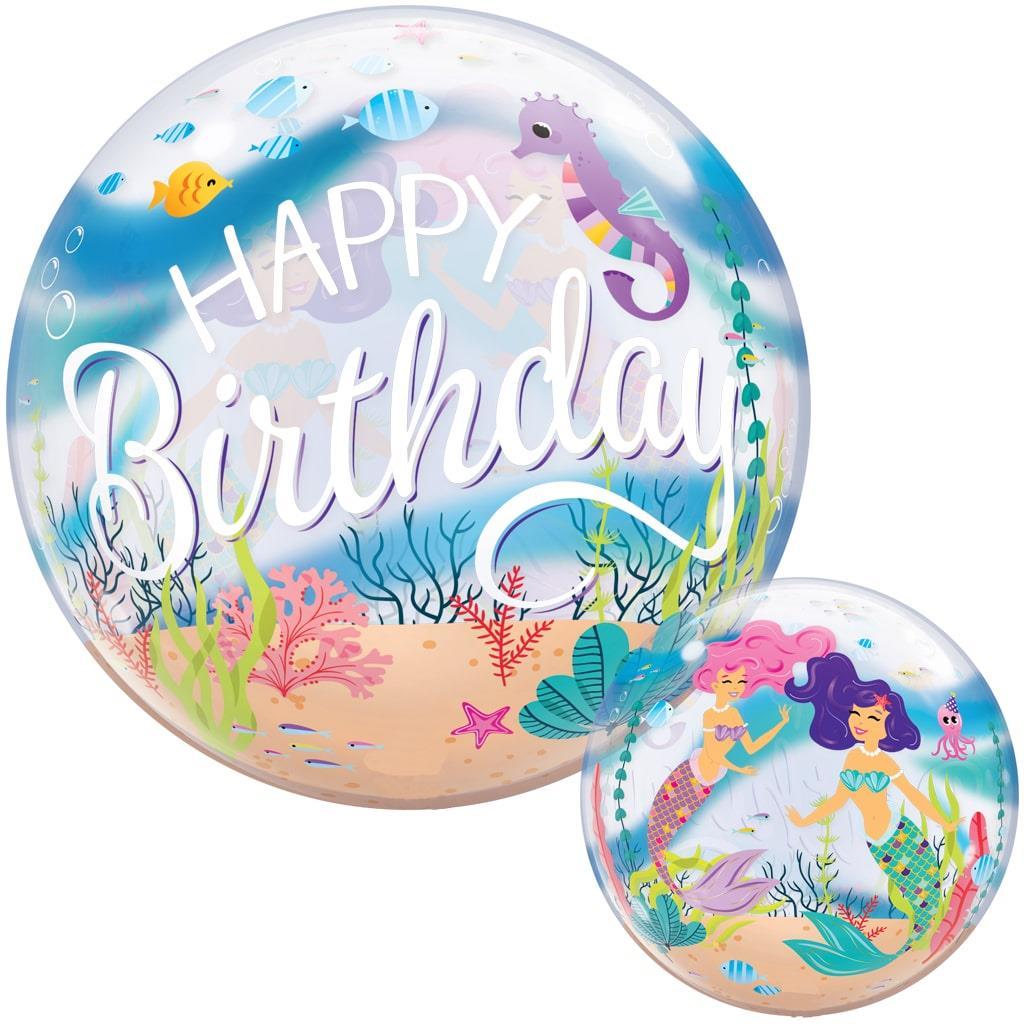 Balão Bubble Happy Birthday Sereias, 56 cm