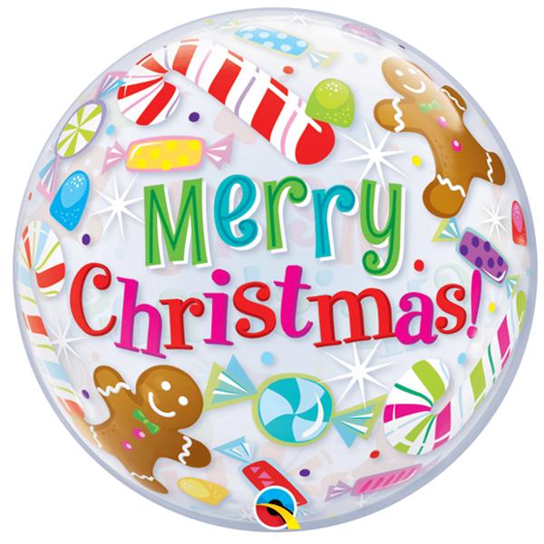 Balão Bubble Merry Christmas Natalício, 56 cm