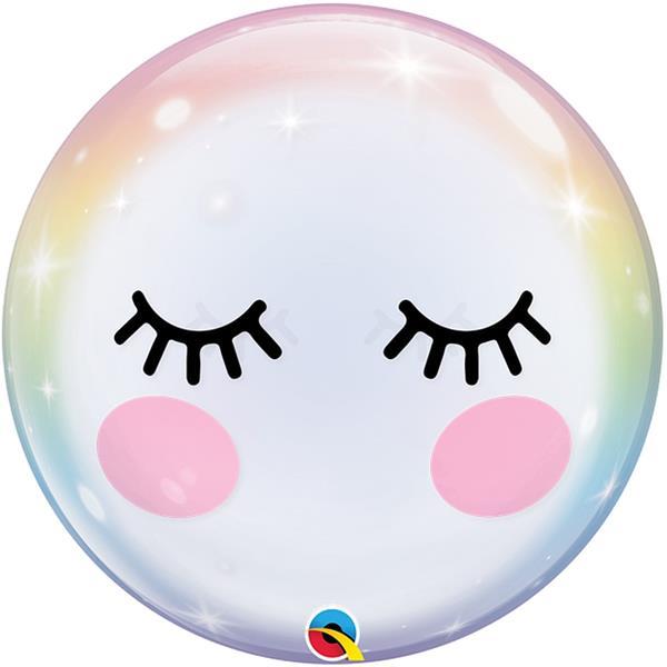 Balão Bubble Pestanas Unicórnio, 56 cm