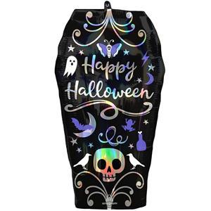 Balão Caixão Happy Halloween Super Shape Foil, 68 cm