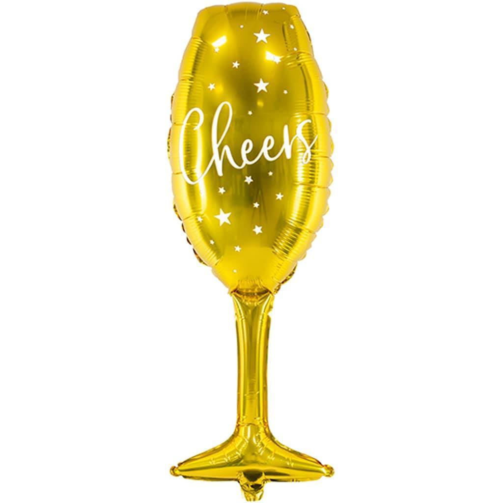 Balão Copo de Champanhe Cheers Dourado Foil, 80 cm