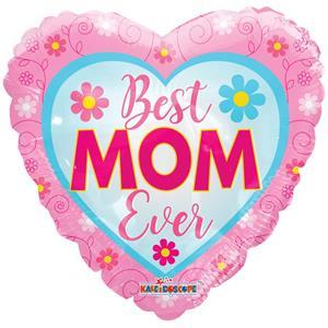 Balão Coração Best Mom Ever Foil, 46 cm