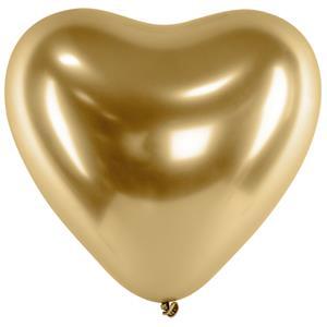 Balão Coração Cromado Dourado Látex, 30 cm