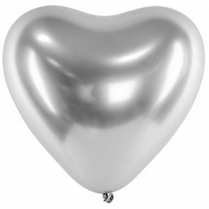 Balão Coração Cromado Prateado Látex, 30 cm