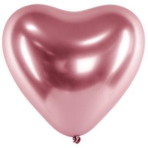 Balão Coração Cromado Rosa Látex, 30 cm