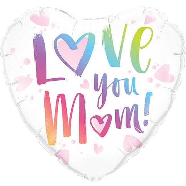 Balão Coração Love You Mom Foil, 46 cm