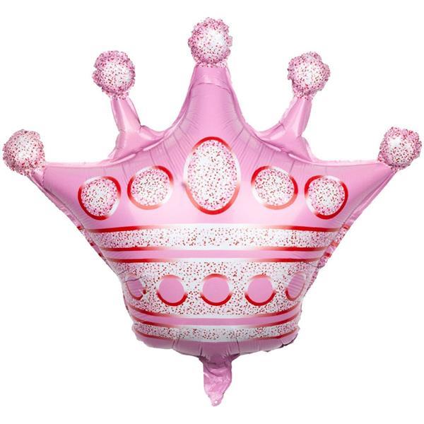 Balão Coroa Rosa Foil, 60 cm