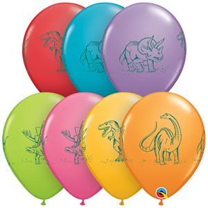 Balão Dinossauro em Ação Multicolor Látex, 30 cm