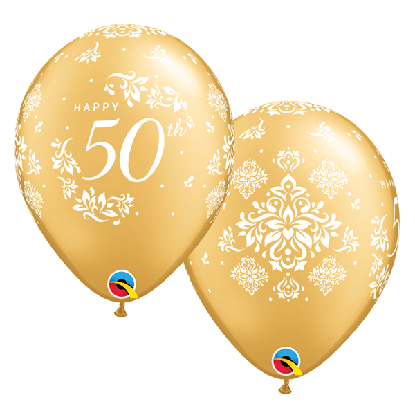 Balão Dourado Látex 50 Anos, 6 Unid.