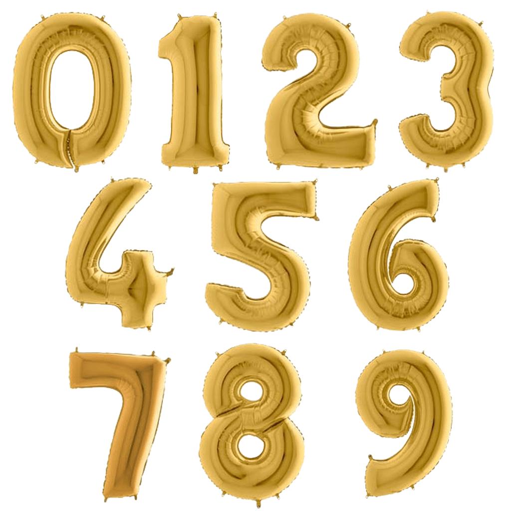 Balão em Forma de Número Dourado