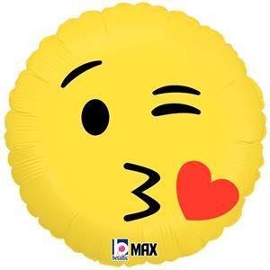 Balão Emoji Beijo Foil, 46 cm