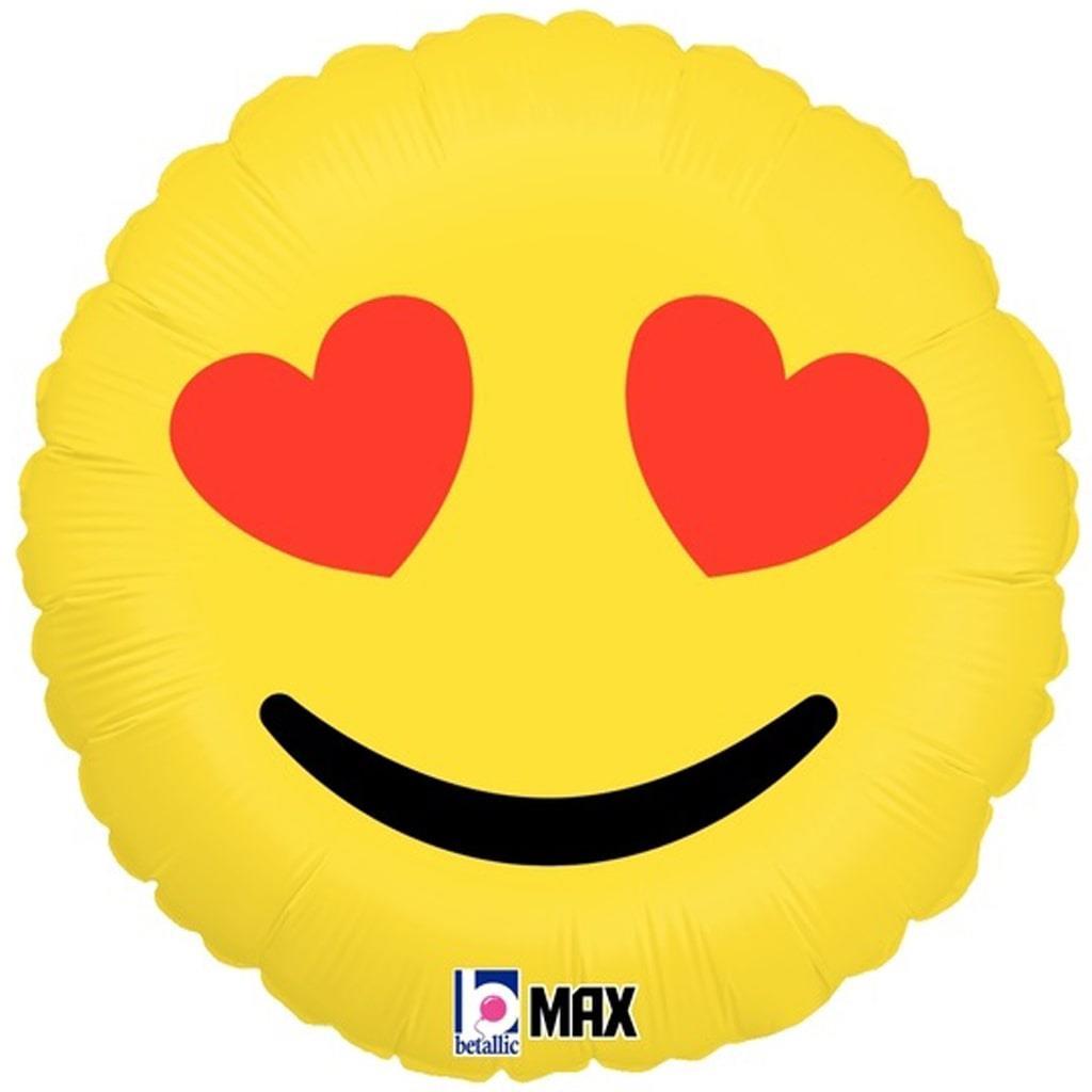 Balão Emoji Olhos Corações Foil, 46 cm