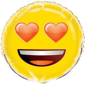 Balão Emoji Olhos Corações, 45 cm