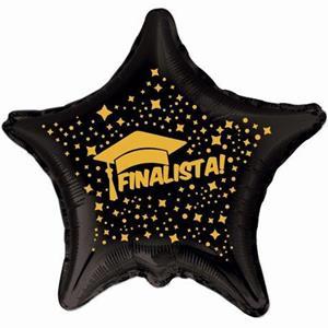 Balão Estrela Finalista Preto e Dourado Foil, 45 cm