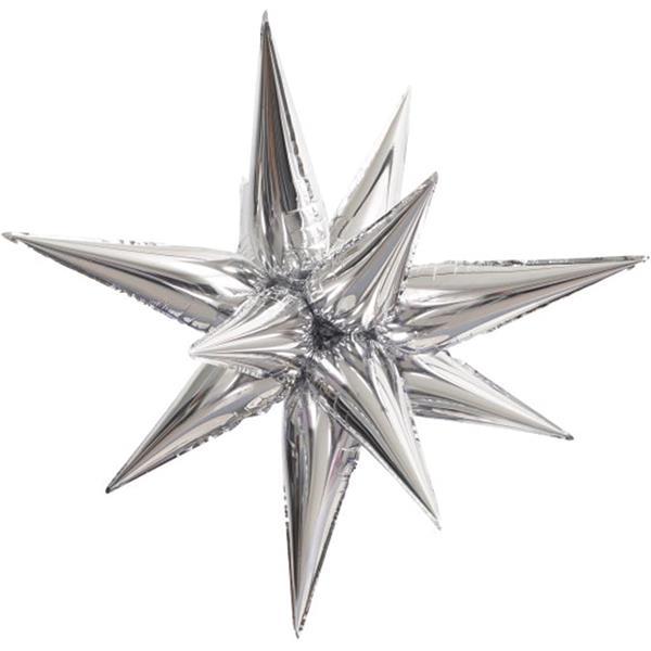 Balão Estrela Prateada 3D Foil, 70 cm