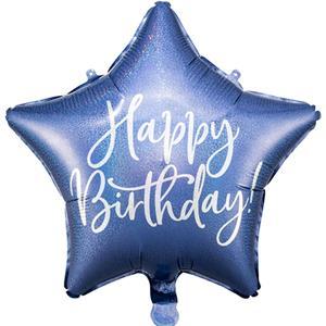 Balão Estrela Happy Birthday Azul com Glitter Foil, 40 cm