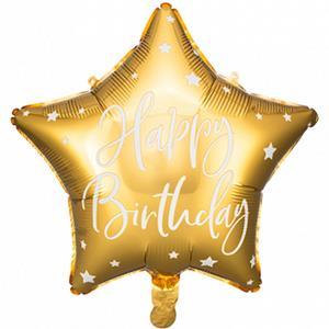Balão Estrela Happy Birthday Dourado Foil, 40 cm
