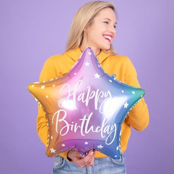 Balão Estrela Happy Birthday Multicolor Foil, 40 cm