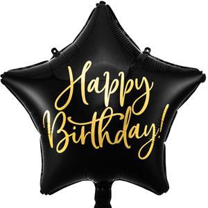 Balão Estrela Happy Birthday Preto Foil, 40 cm