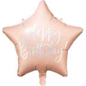 Balão Estrela Happy Birthday Rosa Gold com Glitter Foil, 40 cm