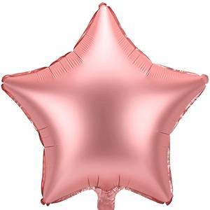 Balão Estrela Rosa Gold Mate Foil, 48 cm