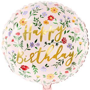Balão Floral Happy Birthday Foil, 35 cm