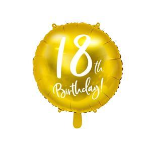 Balão Foil 18 Anos Dourado, 45 Cm