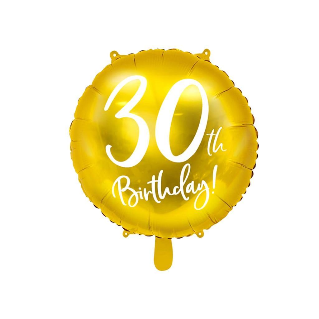 Balão Foil 30 Anos Dourado, 45 Cm