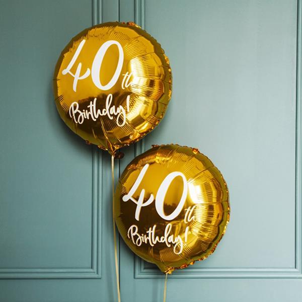 Balão Foil 40 Anos Dourado, 45 Cm