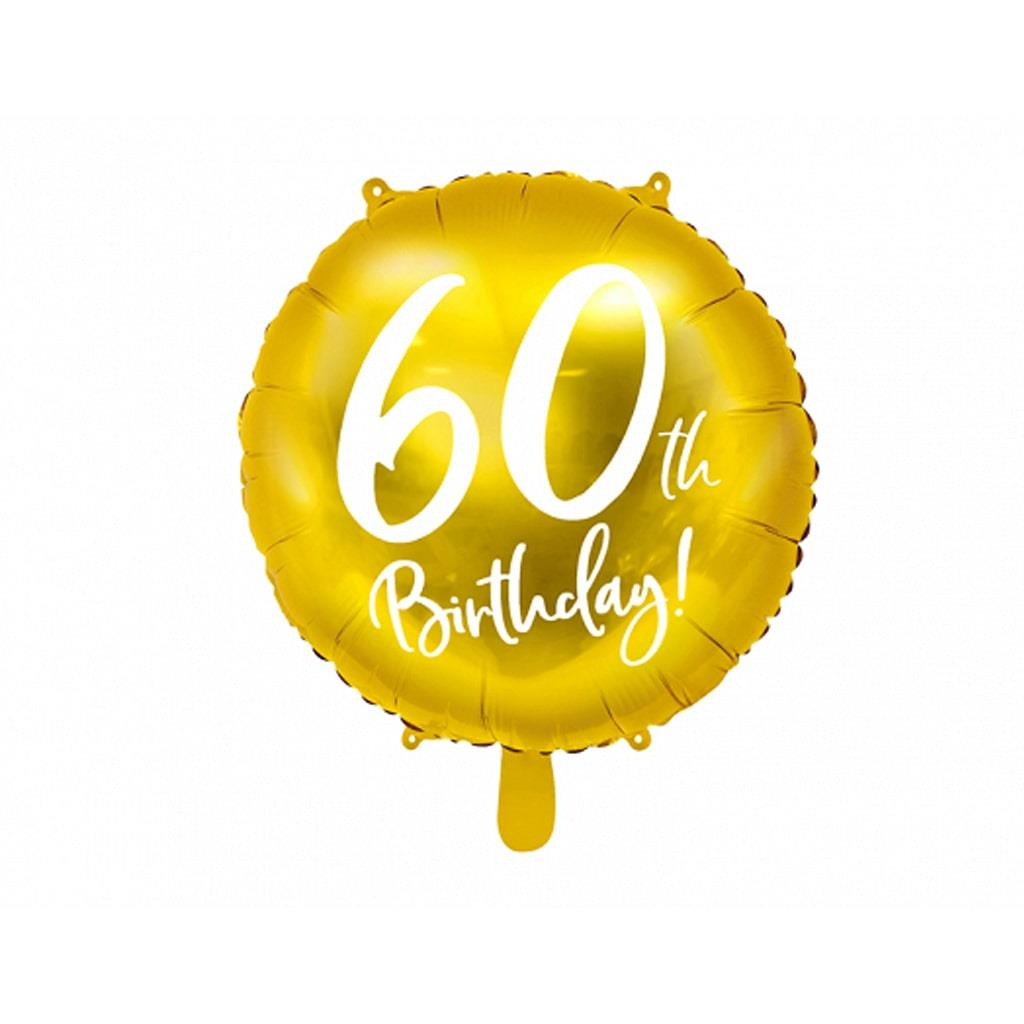 Balão Foil 60 Anos Dourado, 45 Cm