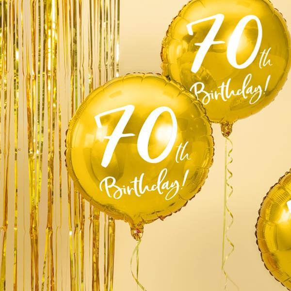 Balão Foil 70 Anos Dourado, 45 Cm