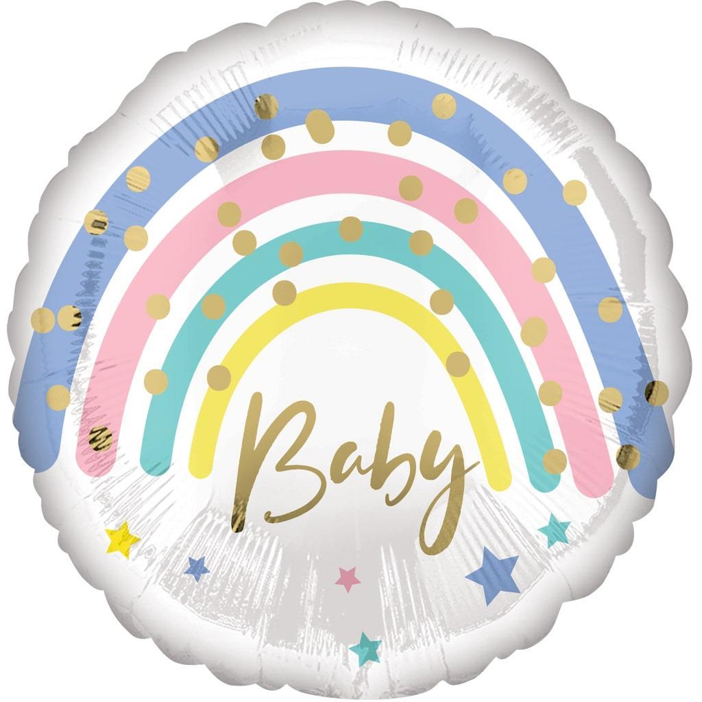 Balão Foil Baby Arco-íris Pastel, 43 cm