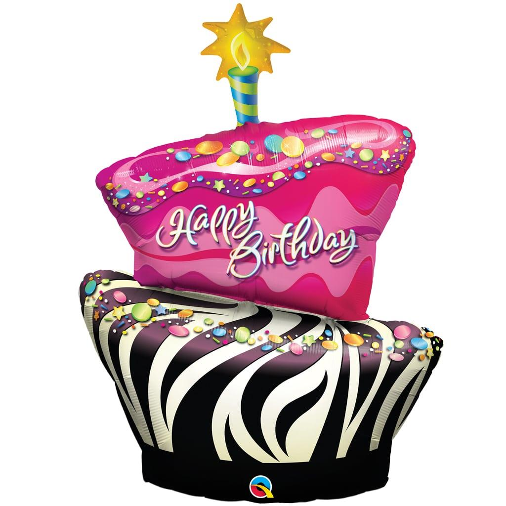 Balão Foil Cake Zebra Happy Birthday